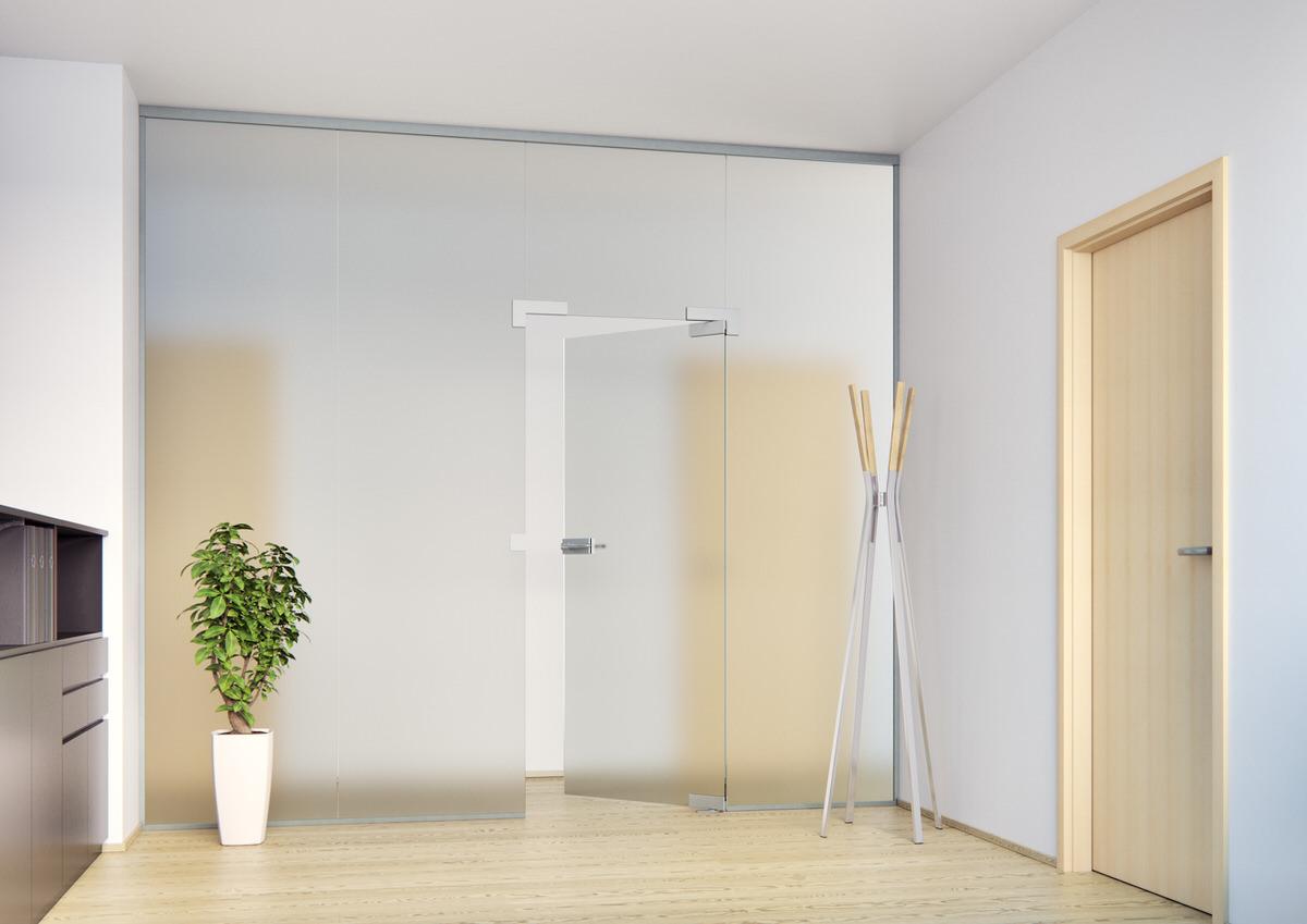 Skleněné stěny, skleněné dveře, Sapeli, Sapglass, satinato