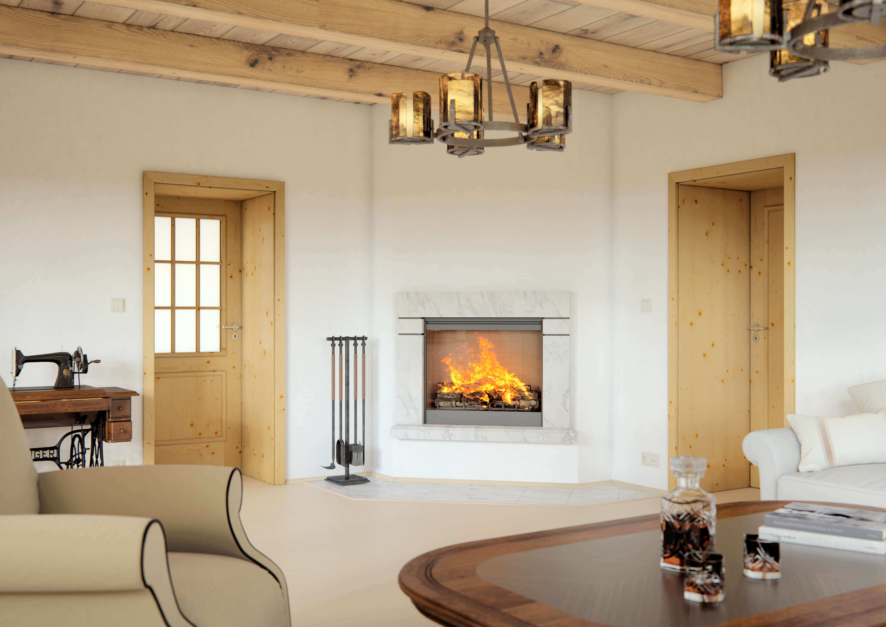 Dřevěné interiérové dveře SAPELI BERGAMO 32 - prosklené, dekor smrk