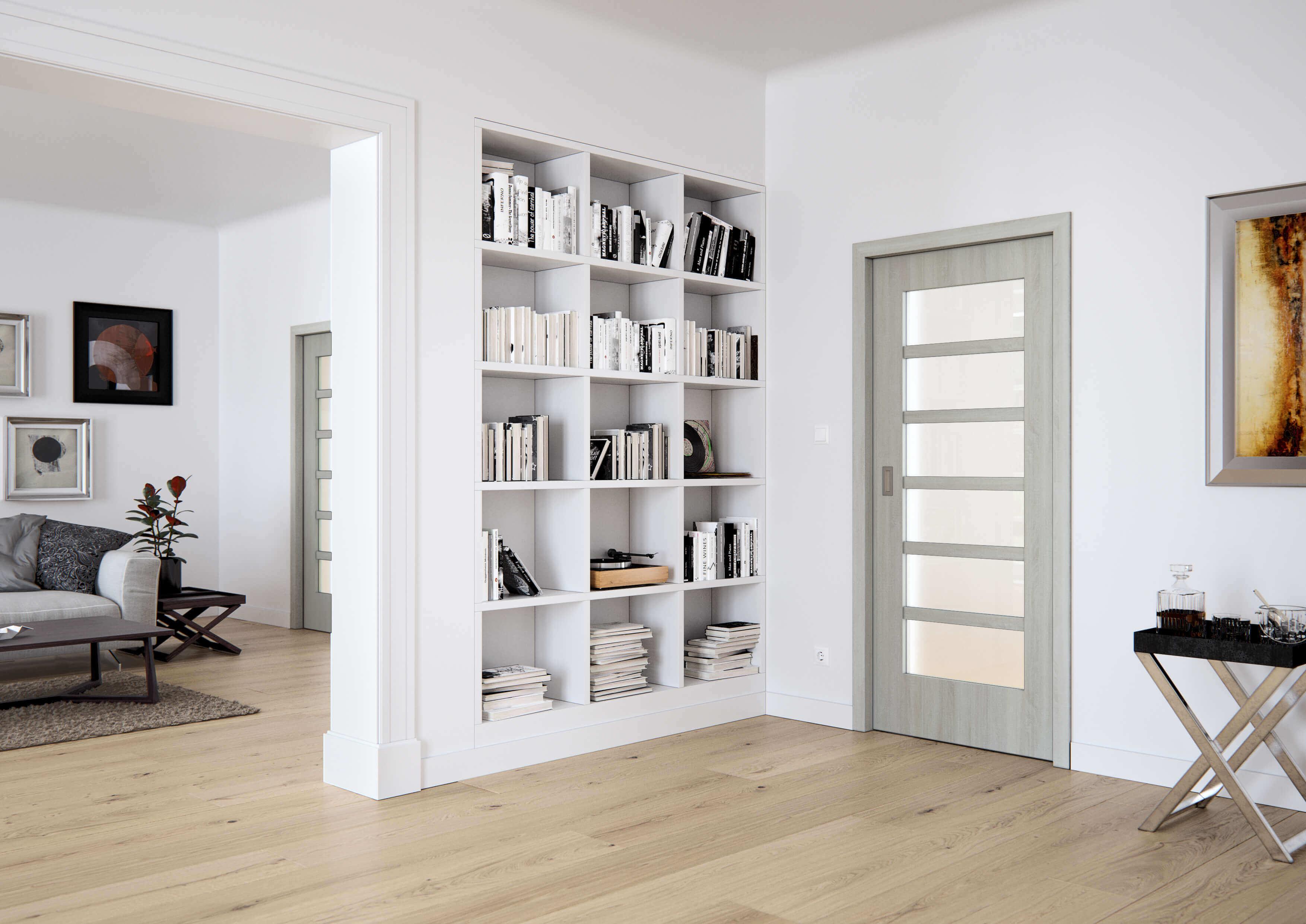 Posuvné dveře do pouzdra SAPELI MERA 46 - prosklené, dekor dub bílý