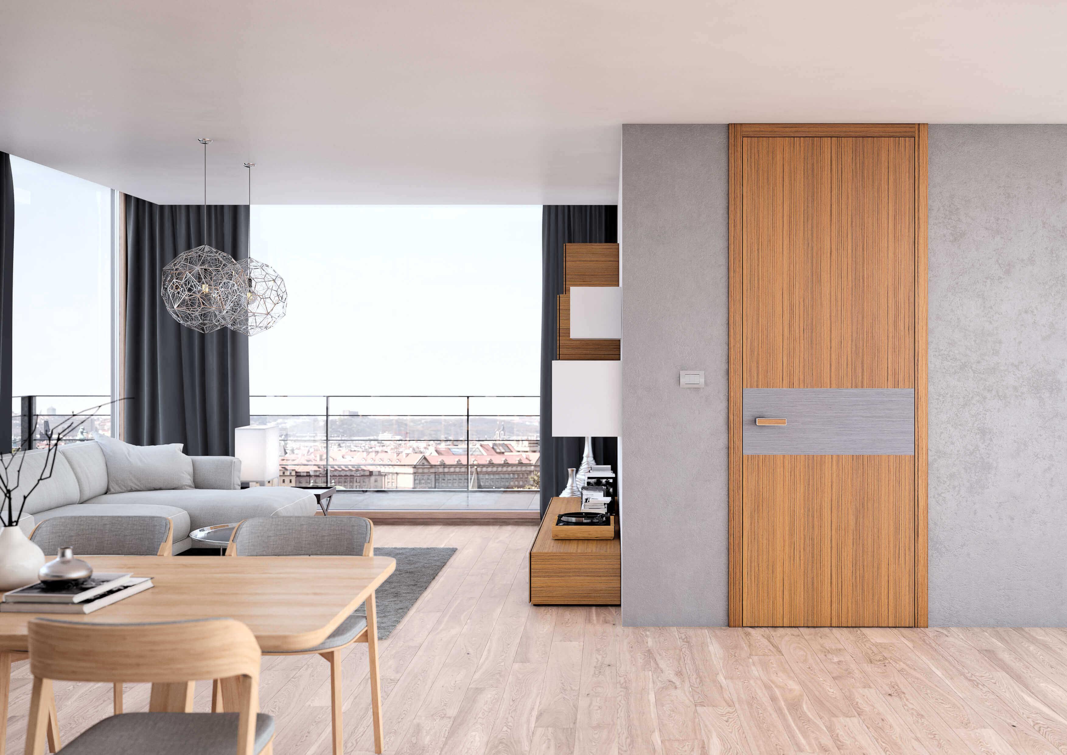 Dřevěné interiérové dveře SAPELI TENGA 28 - bezfalcové, prodloužené