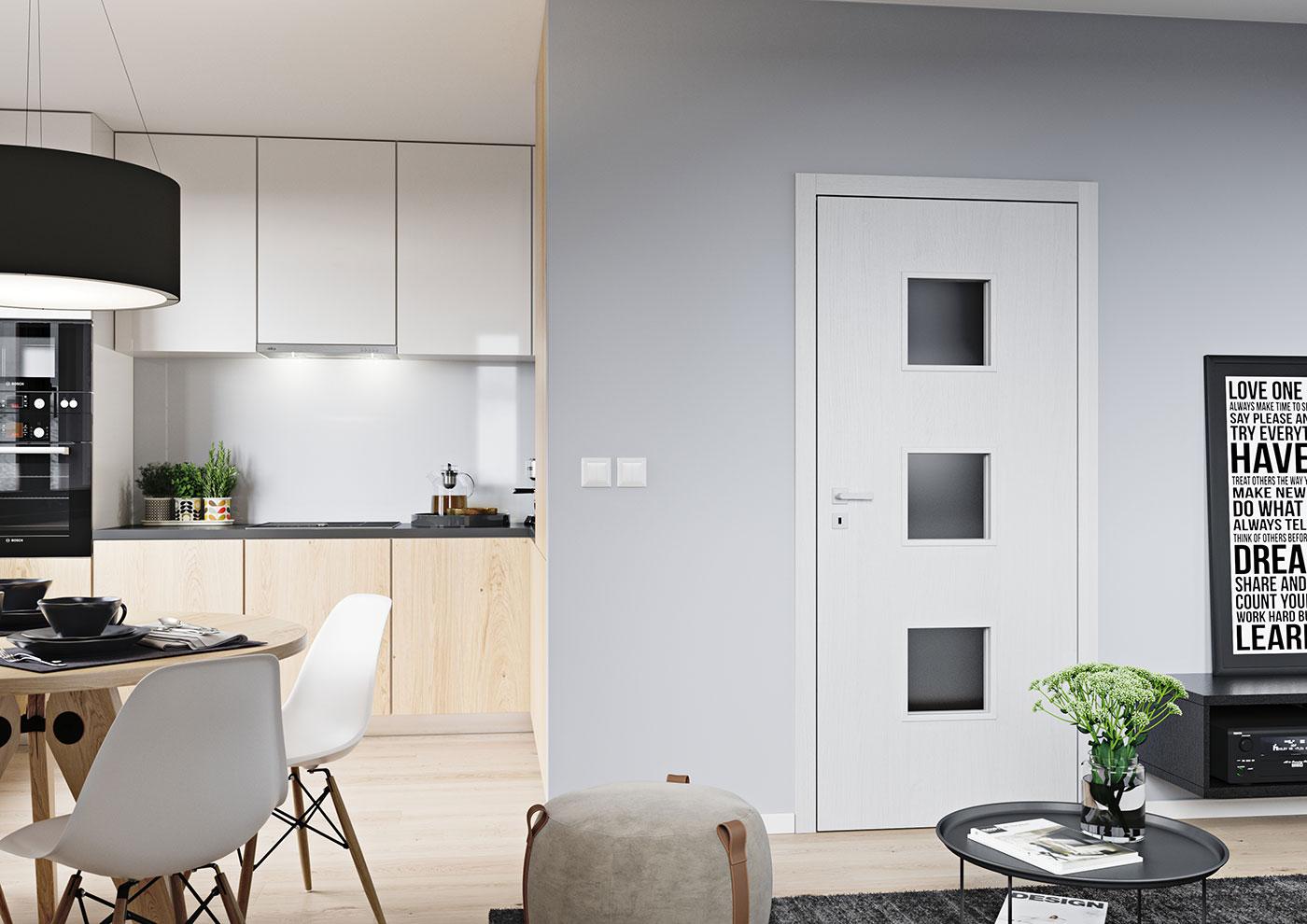 Bezfalcové interiérové dveře SAPELI Domino 63 - dekor dub arktický bílý