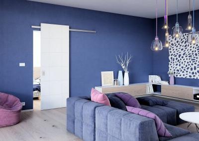 Interiérové posuvné dveře SAPELI REDE 12 - deko barva bílá hladká premium, prodloužené