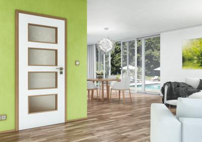 Bezfalcové interiérové dveře SAPELI Swing 49 - dekor barva bila hladká komfort