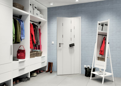 Bílé interiérové dveře SAPELI HANUM 26 - bezfalcové, háčky v liště