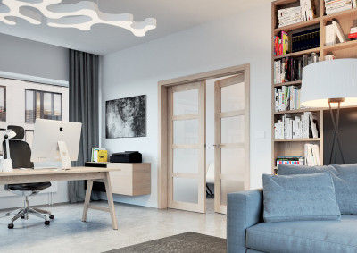 Dřevěné interiérové dveře SAPELI KUBIKA 44 - dvoukřídlé, prosklené, dekor dub