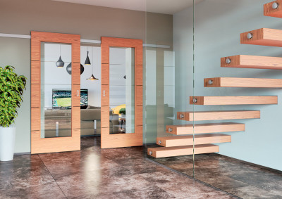 Interiérové posuvné dveře SAPELI NOTE 42 - dřevěné, dekor třešeň