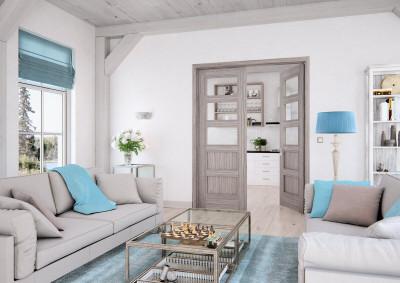 Dřevěné interiérové dveře SAPELI SWING 35 - dvoukřídlé, prosklené, dekor dub