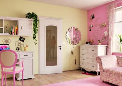 Bílé interiérové dveře SAPELI Venecia 40- prosklené, skryté panty