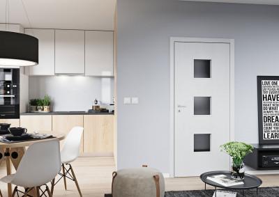 Bezfalcové interiérové dveře SAPELI Domino 63 - dekor dub arktický bílý struktur