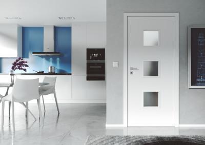 interior non-rebated door SAPELI DOMINO 63- Finishes Plain white Comfort