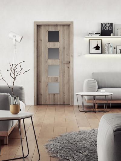 Interiérové dveře SAPELI DOMINO 64- dekor CPL borovice šedá struktur