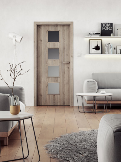 Interior door SAPELI DOMINO 64 - material Laminated structured grey pine