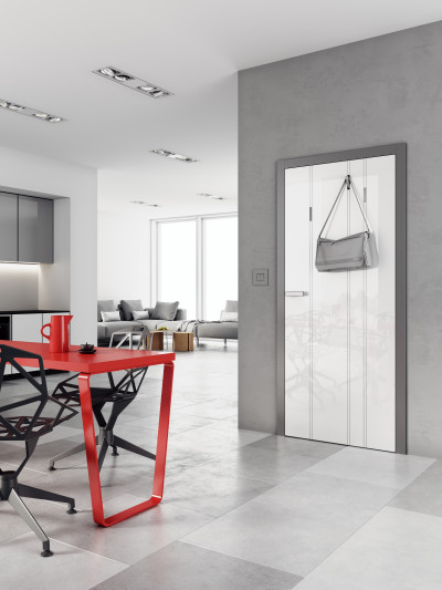 interior non-rebated door SAPELI HANUM 26 - material High gloss white