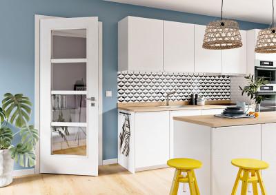 interior non-rebated door SAPELII Mera 44- finishes Laminated concrete white