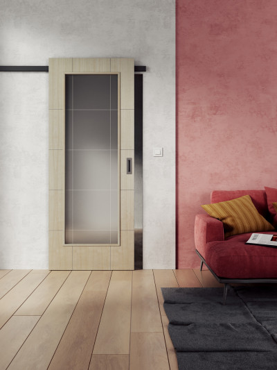 Interior sliding door SAPELI REDE 42 - material veneer birch
